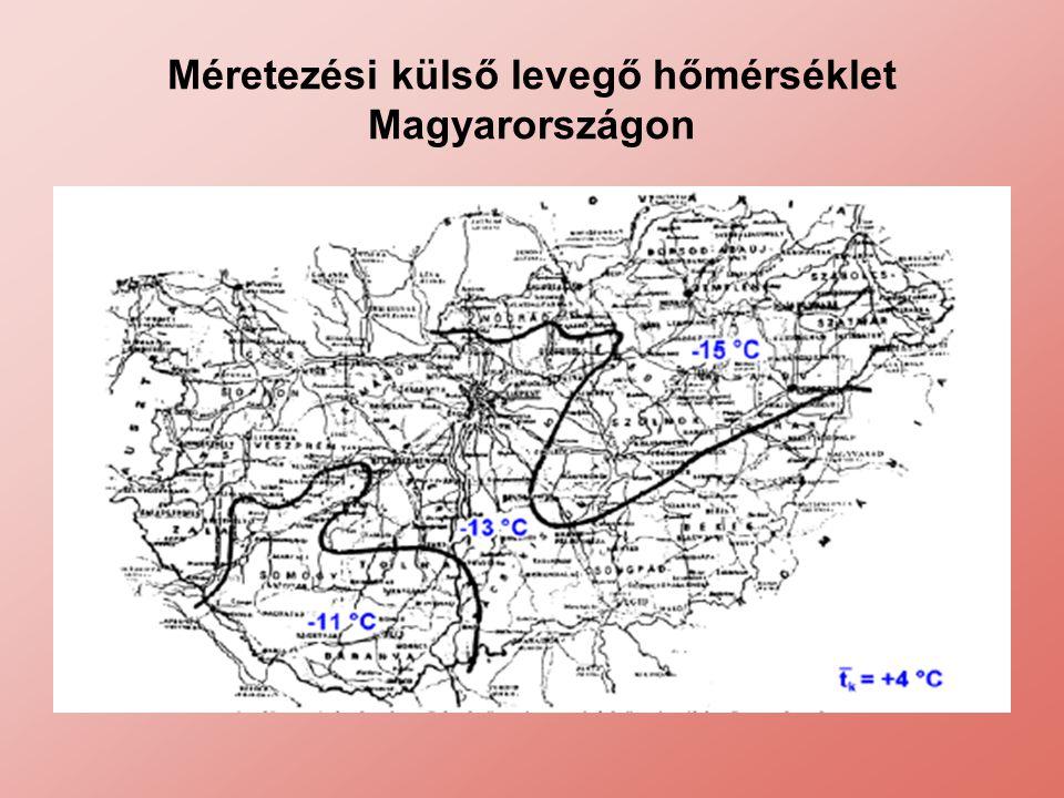 Méretezési külső levegő hőmérséklet Magyarországon