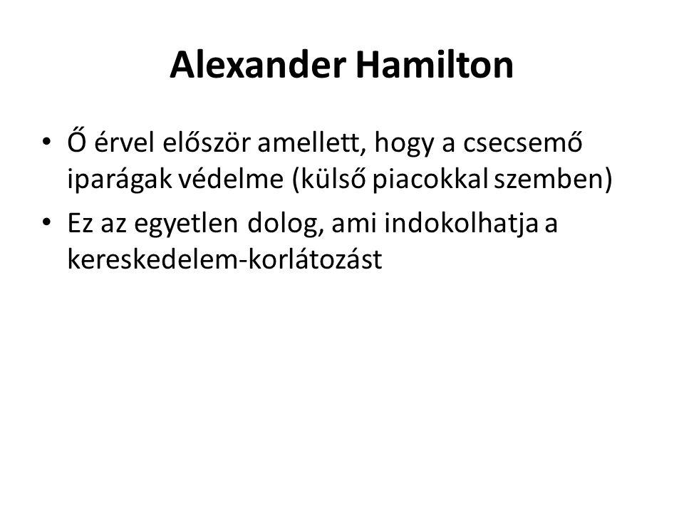 Alexander Hamilton Ő érvel először amellett, hogy a csecsemő iparágak védelme (külső piacokkal szemben)