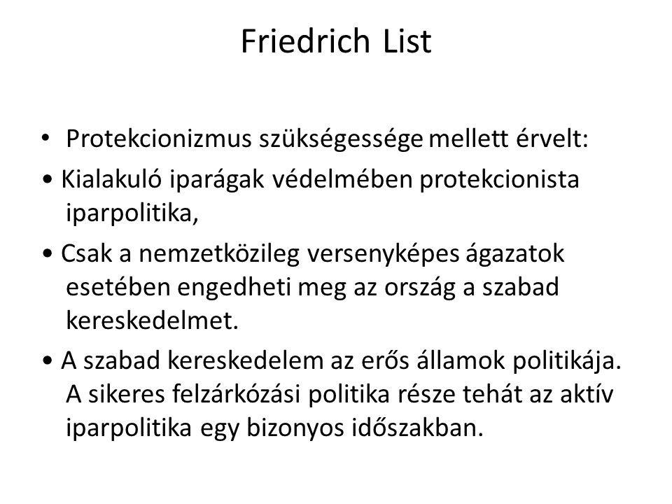 Friedrich List Protekcionizmus szükségessége mellett érvelt:
