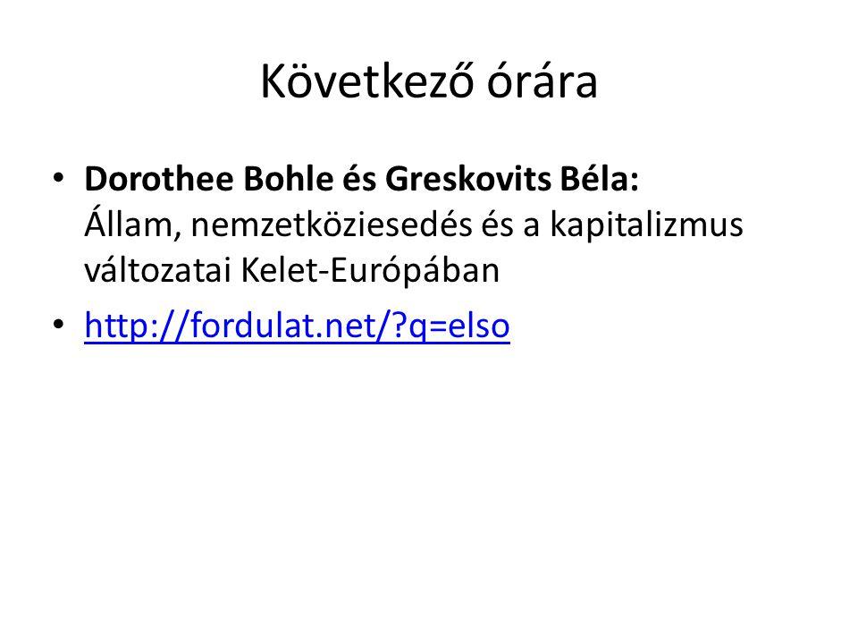 Következő órára Dorothee Bohle és Greskovits Béla: Állam, nemzetköziesedés és a kapitalizmus változatai Kelet-Európában.