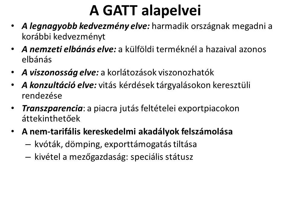 A GATT alapelvei A legnagyobb kedvezmény elve: harmadik országnak megadni a korábbi kedvezményt.