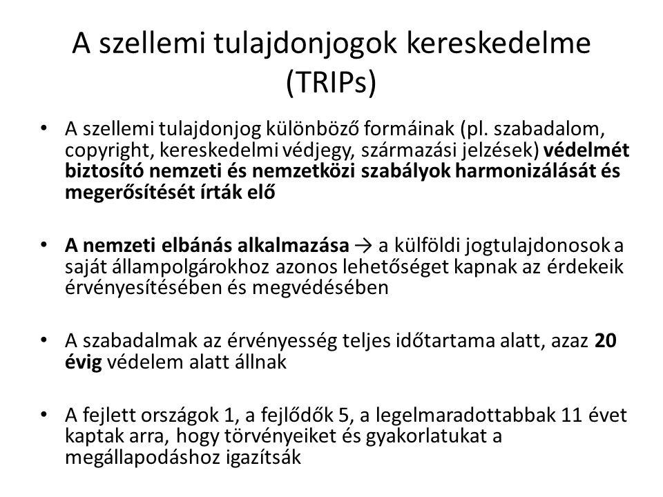 A szellemi tulajdonjogok kereskedelme (TRIPs)