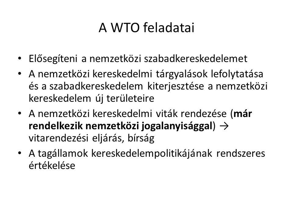 A WTO feladatai Elősegíteni a nemzetközi szabadkereskedelemet
