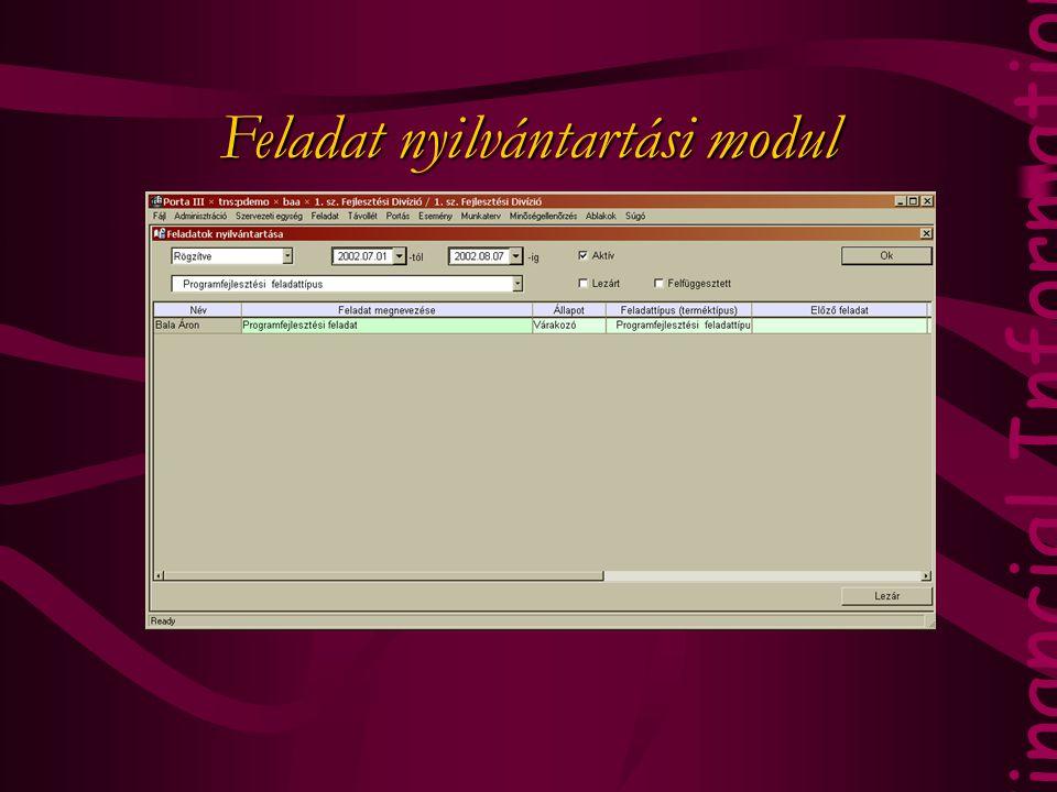 Feladat nyilvántartási modul