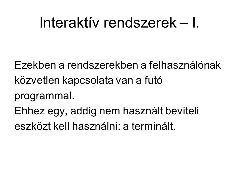 Interaktív rendszerek – I.