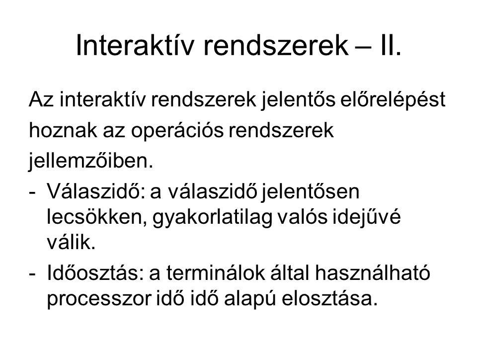 Interaktív rendszerek – II.