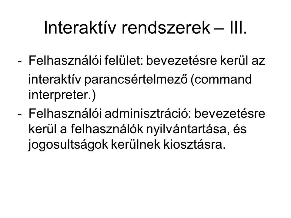 Interaktív rendszerek – III.