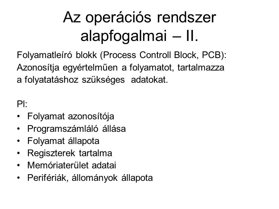 Az operációs rendszer alapfogalmai – II.