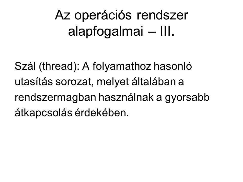 Az operációs rendszer alapfogalmai – III.