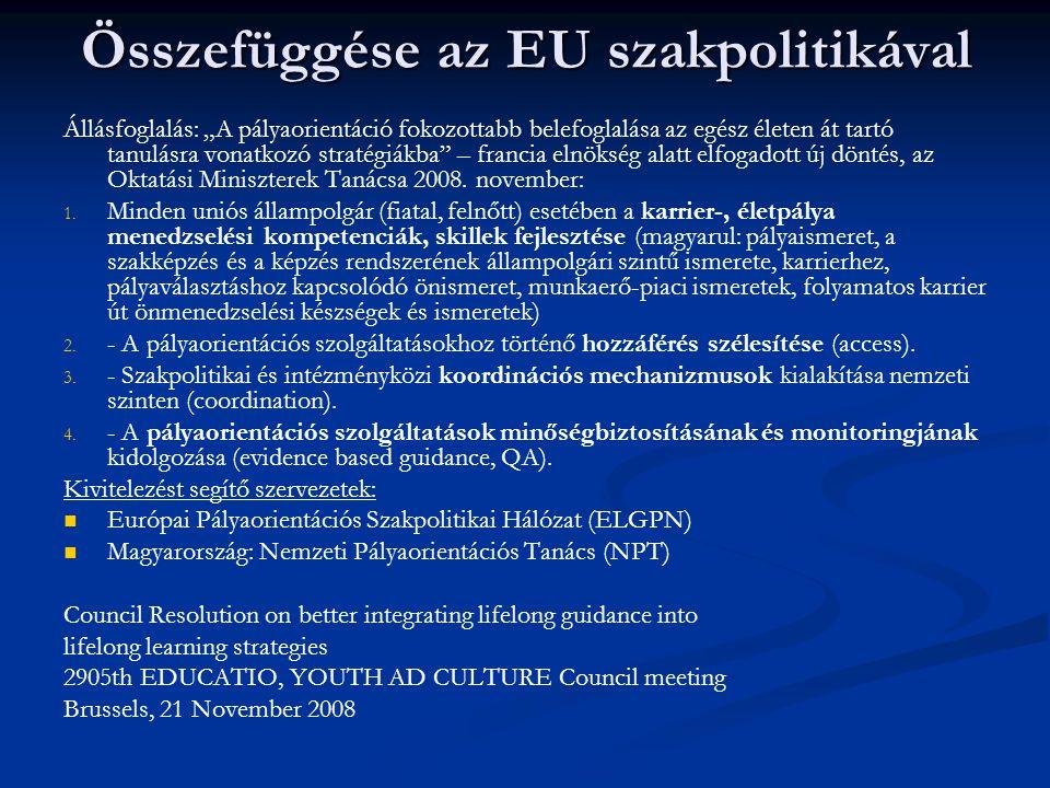 Összefüggése az EU szakpolitikával