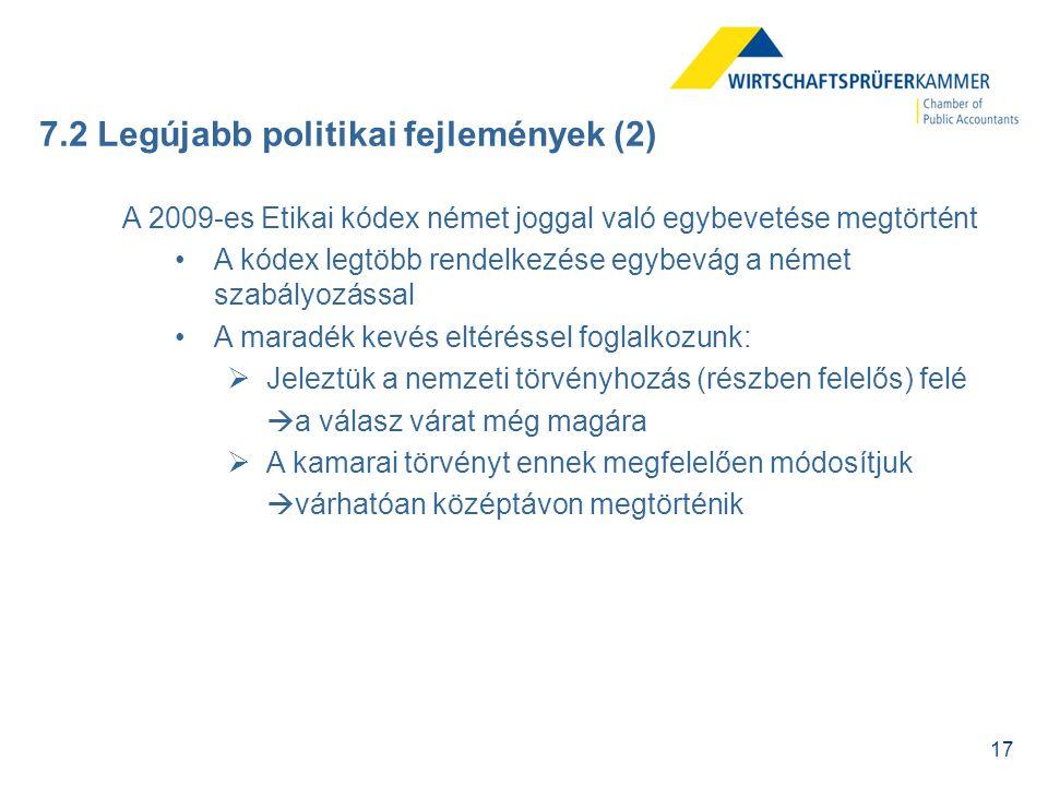 7.2 Legújabb politikai fejlemények (2)