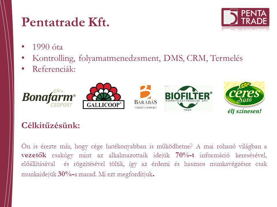 Pentatrade Kft. 1990 óta. Kontrolling, folyamatmenedzsment, DMS, CRM, Termelés. Referenciák: Célkitűzésünk: