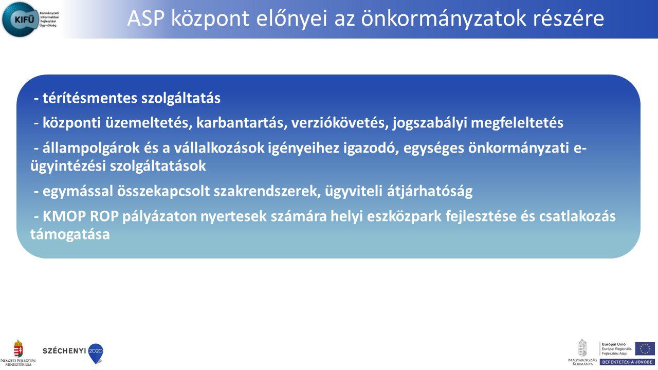 ASP központ előnyei az önkormányzatok részére