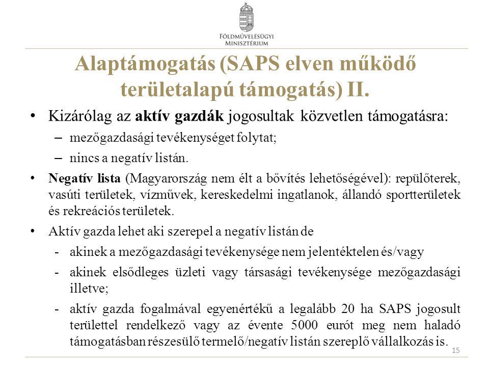 Alaptámogatás (SAPS elven működő területalapú támogatás) II.