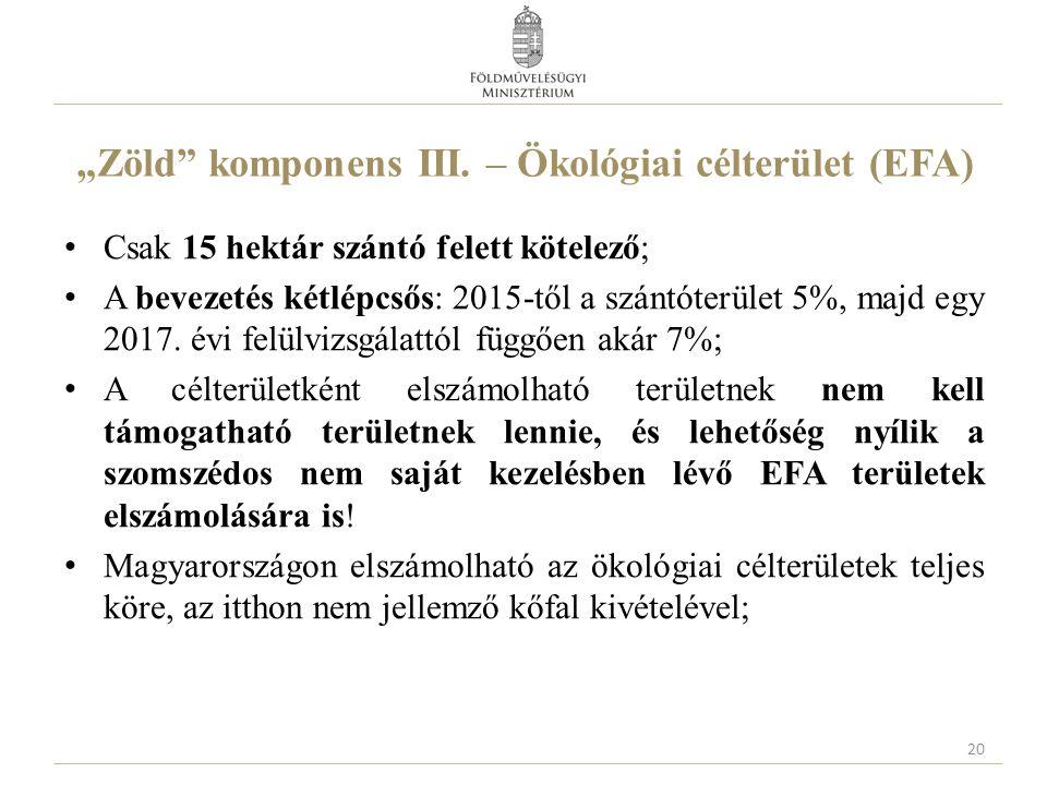 """""""Zöld komponens III. – Ökológiai célterület (EFA)"""