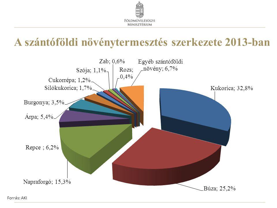 A szántóföldi növénytermesztés szerkezete 2013-ban