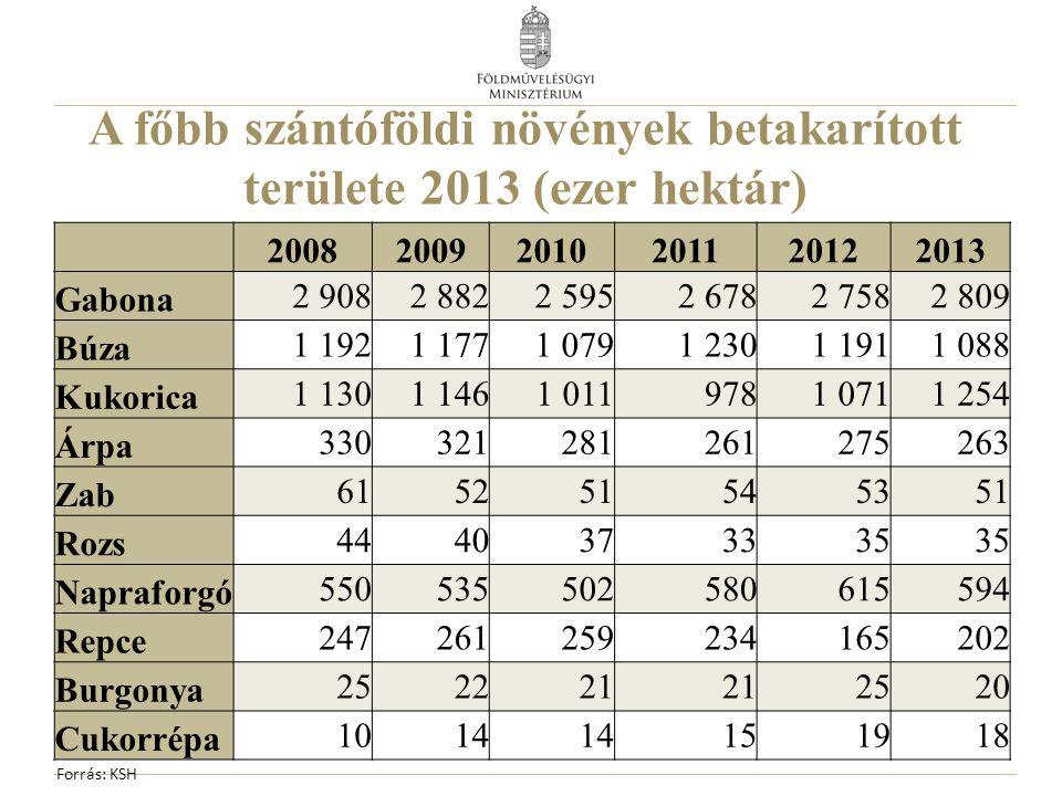A főbb szántóföldi növények betakarított területe 2013 (ezer hektár)