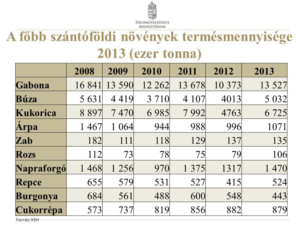 A főbb szántóföldi növények termésmennyisége 2013 (ezer tonna)