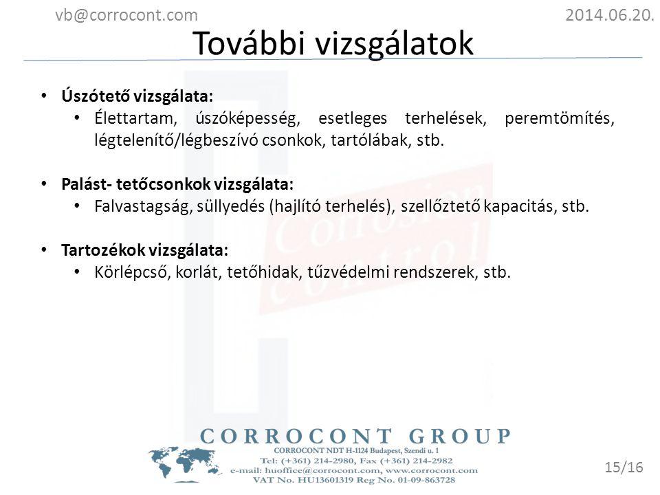 További vizsgálatok vb@corrocont.com 2014.06.20. Úszótető vizsgálata: