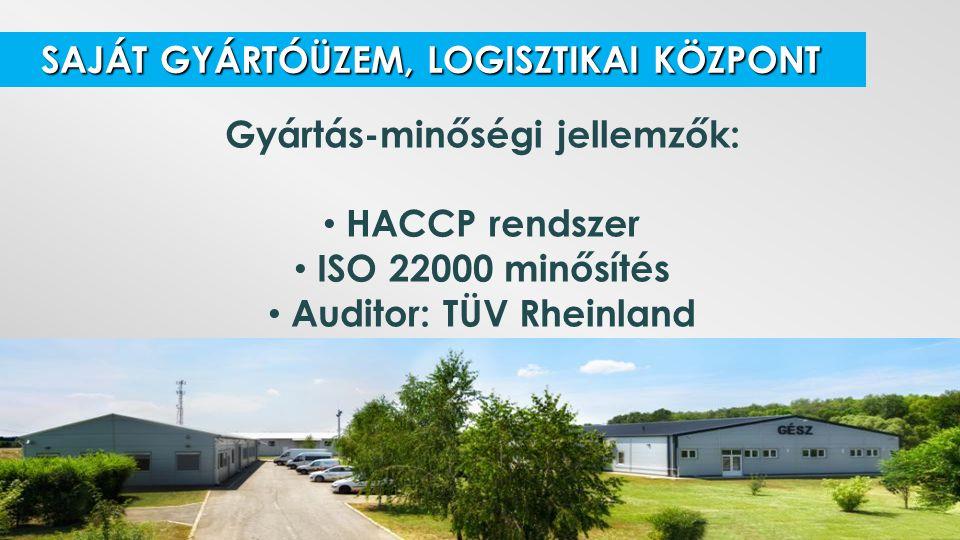 Gyártás-minőségi jellemzők: Auditor: TÜV Rheinland