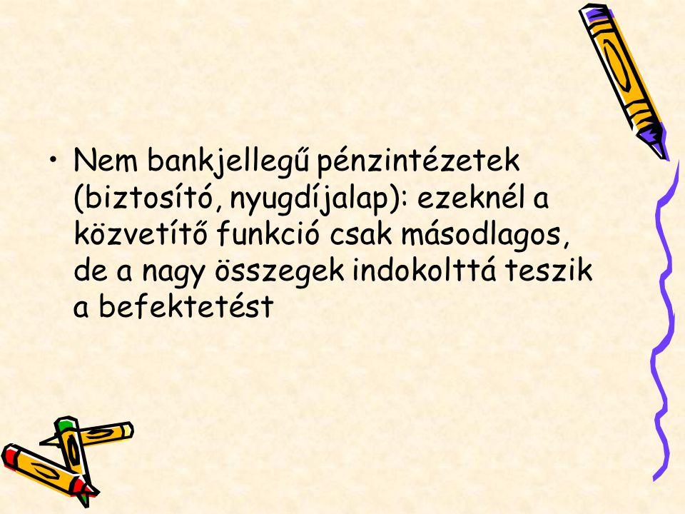 Nem bankjellegű pénzintézetek (biztosító, nyugdíjalap): ezeknél a közvetítő funkció csak másodlagos, de a nagy összegek indokolttá teszik a befektetést