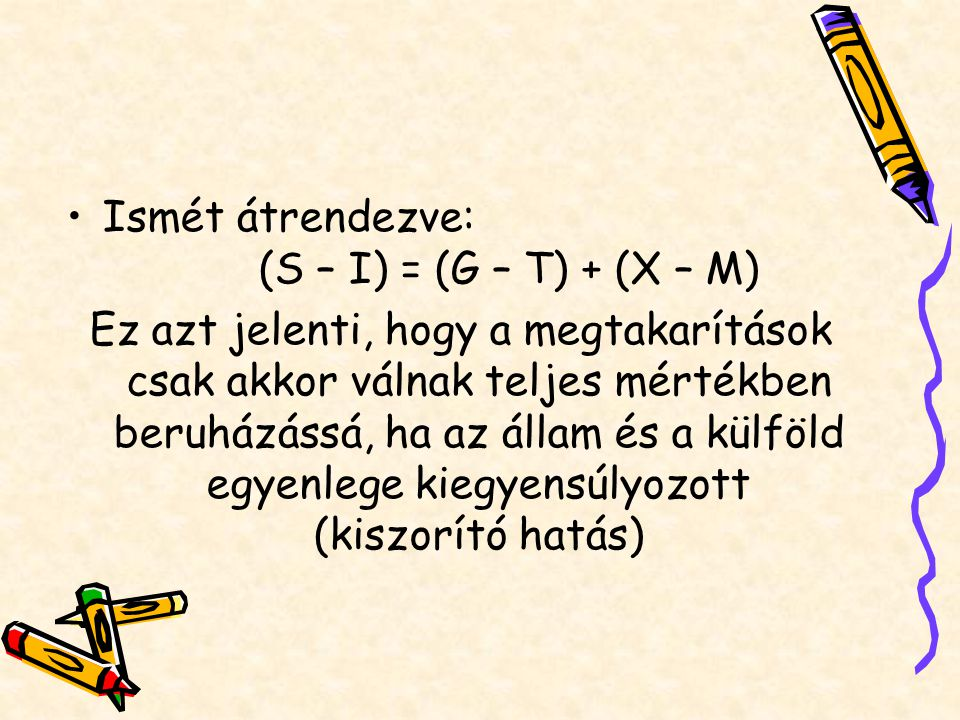 Ismét átrendezve: (S – I) = (G – T) + (X – M)