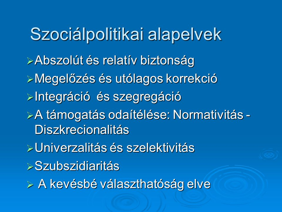 Szociálpolitikai alapelvek