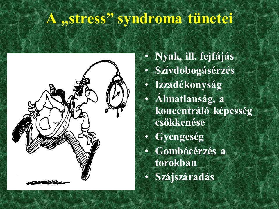 "A ""stress syndroma tünetei"
