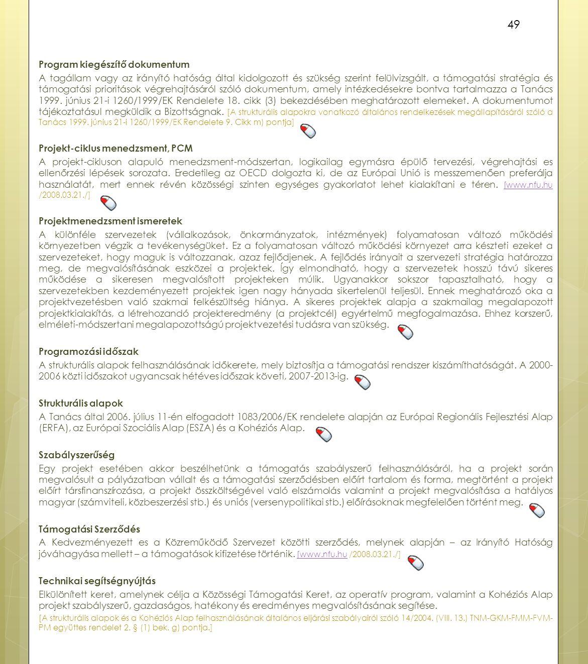 Program kiegészítő dokumentum