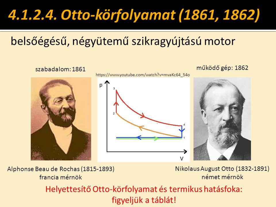 4.1.2.4. Otto-körfolyamat (1861, 1862) belsőégésű, négyütemű szikragyújtású motor. szabadalom: 1861.