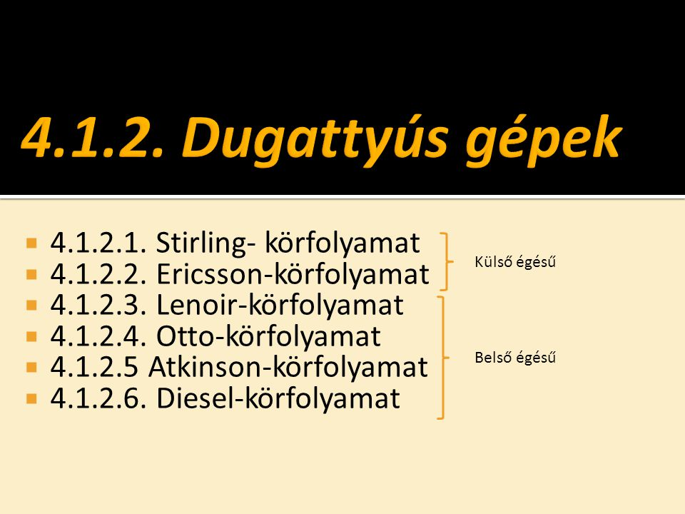 4.1.2. Dugattyús gépek 4.1.2.1. Stirling- körfolyamat