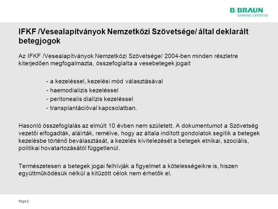 IFKF /Vesealapítványok Nemzetközi Szövetsége/ által deklarált betegjogok