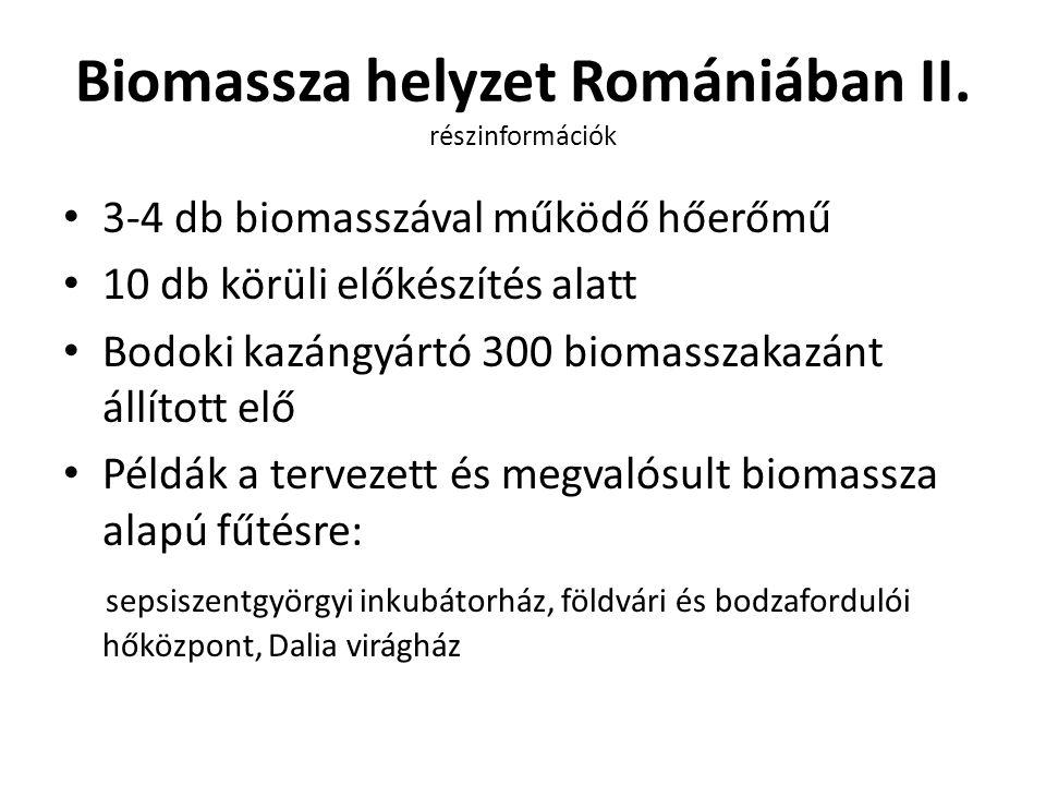 Biomassza helyzet Romániában II. részinformációk