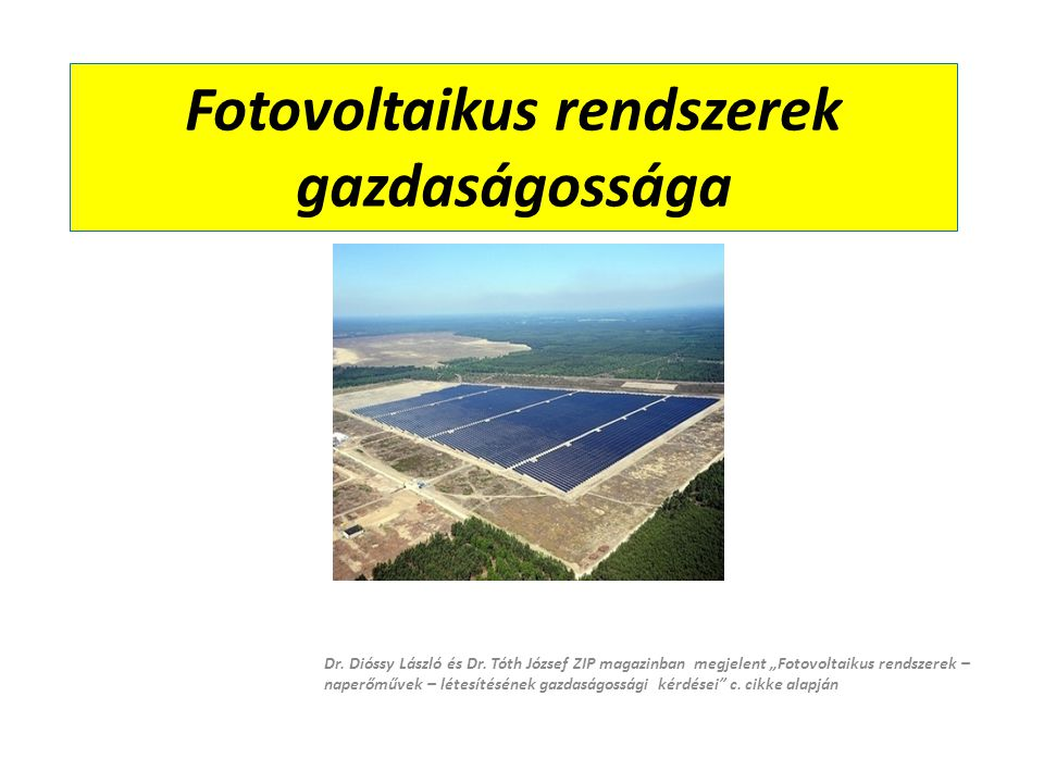 Fotovoltaikus rendszerek gazdaságossága