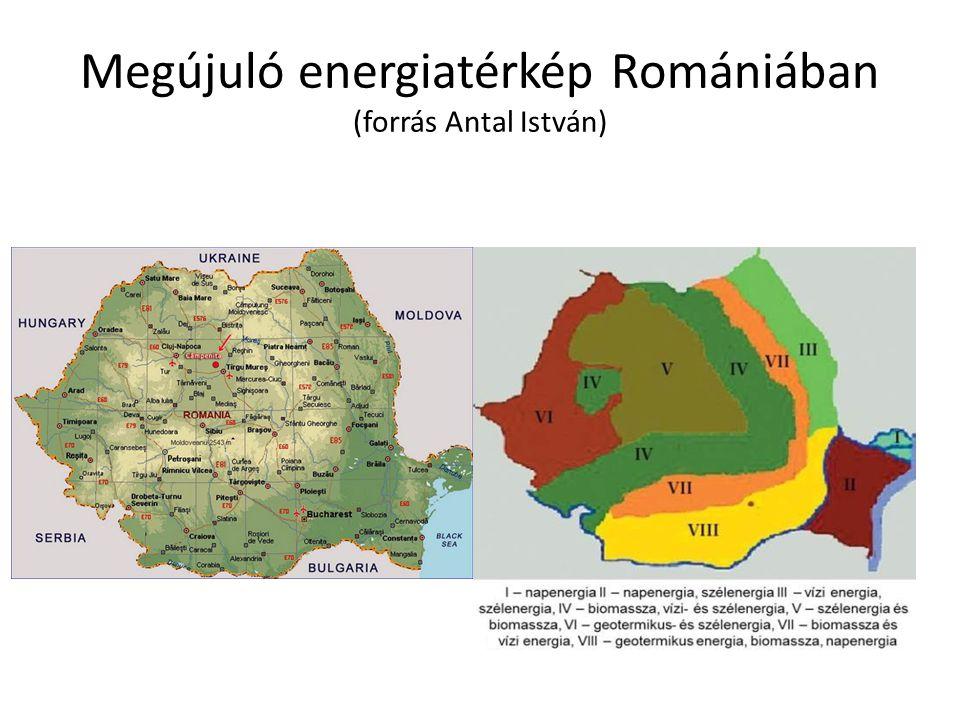 Megújuló energiatérkép Romániában (forrás Antal István)