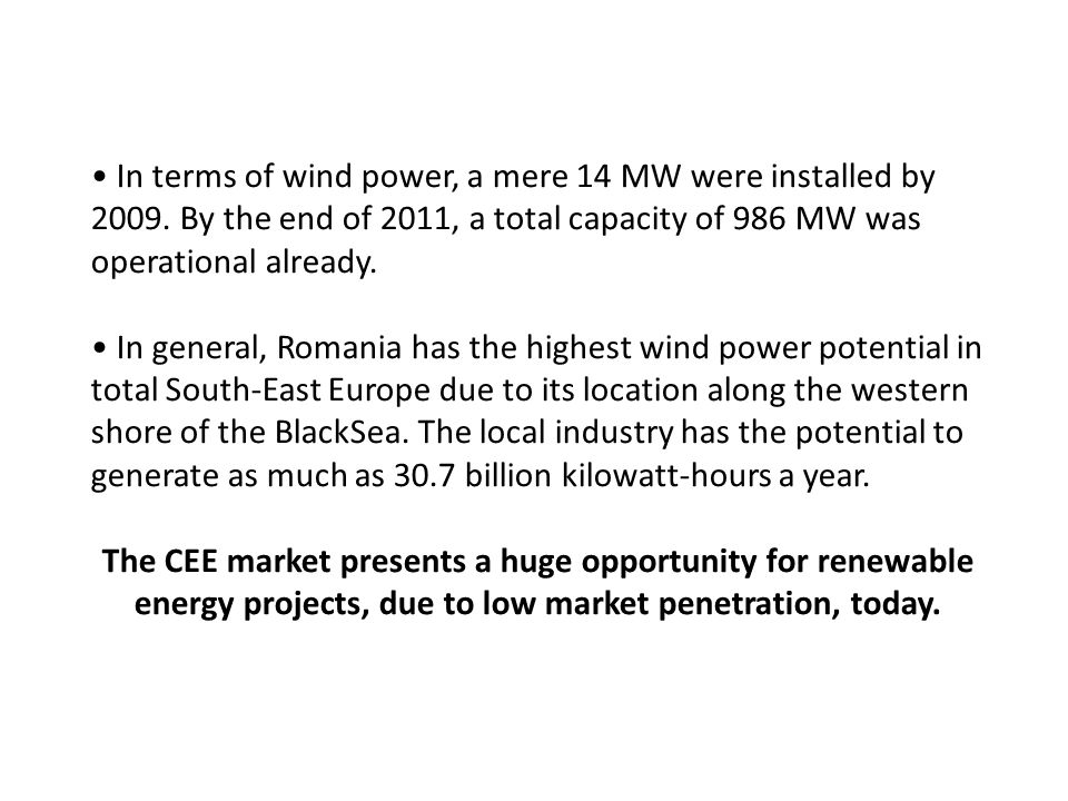 The CEE market presents a huge opportunity for renewable