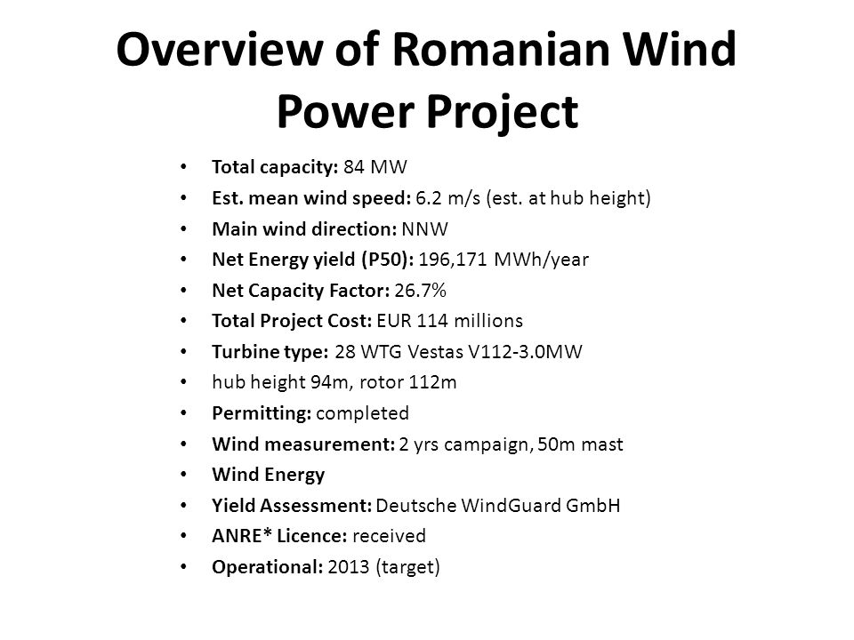 Overview of Romanian Wind Power Project