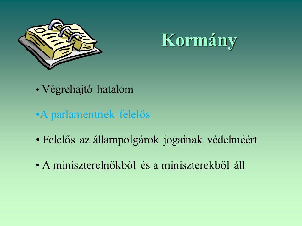 Kormány A parlamentnek felelős