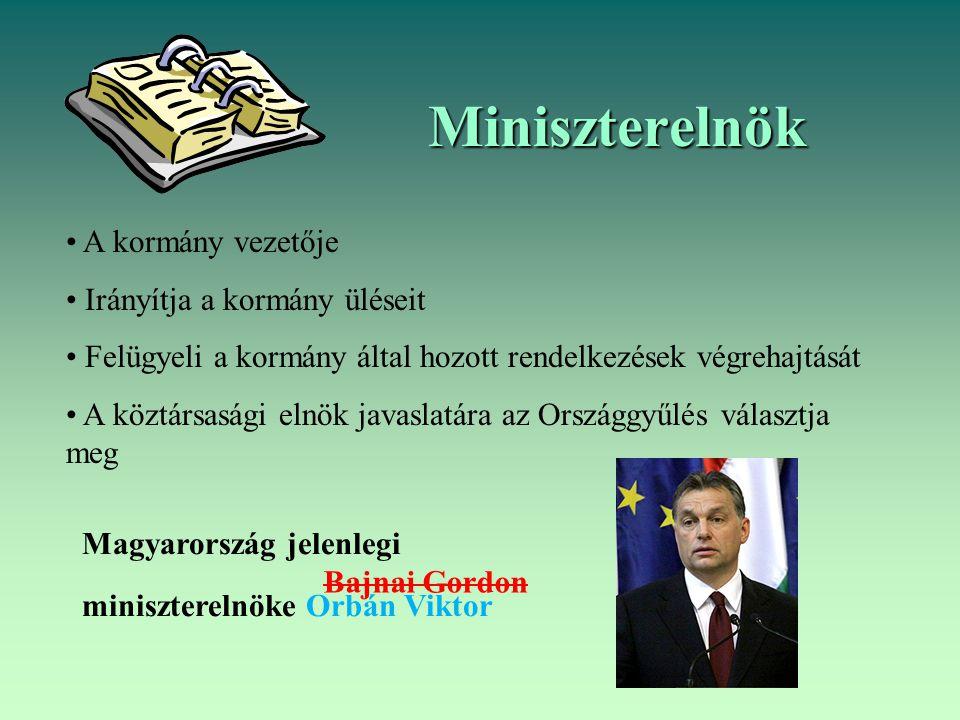 Miniszterelnök A kormány vezetője Irányítja a kormány üléseit