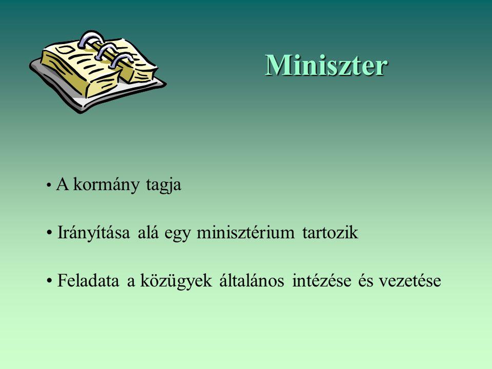 Miniszter Irányítása alá egy minisztérium tartozik
