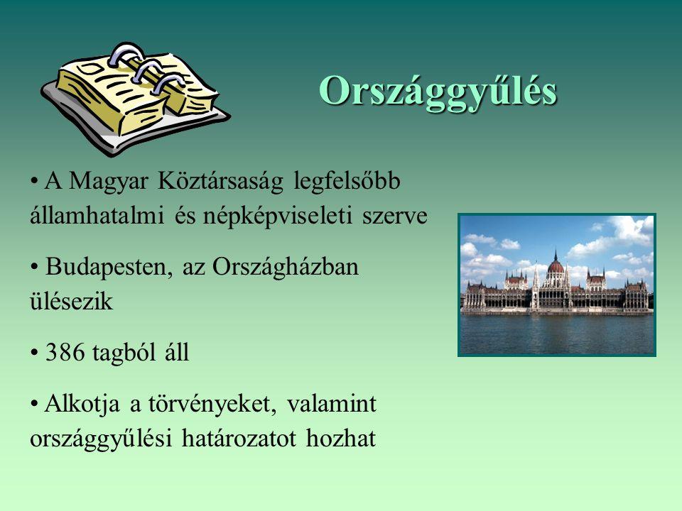 Országgyűlés A Magyar Köztársaság legfelsőbb államhatalmi és népképviseleti szerve. Budapesten, az Országházban ülésezik.