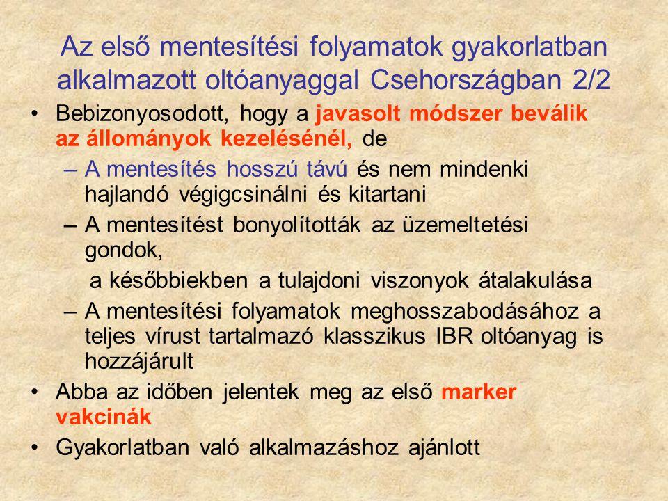 Az első mentesítési folyamatok gyakorlatban alkalmazott oltóanyaggal Csehországban 2/2