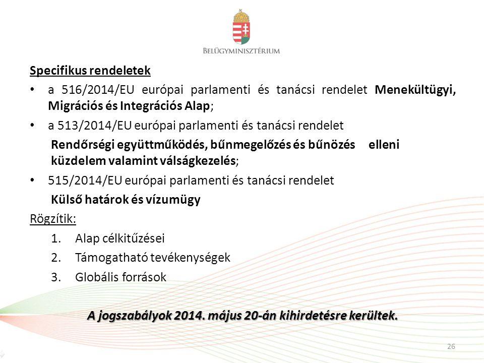 A jogszabályok 2014. május 20-án kihirdetésre kerültek.