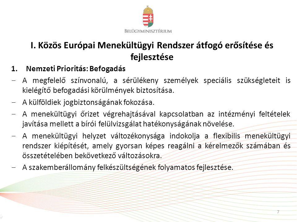 I. Közös Európai Menekültügyi Rendszer átfogó erősítése és fejlesztése