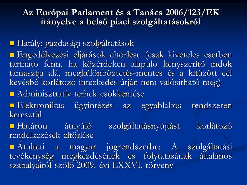 Az Európai Parlament és a Tanács 2006/123/EK irányelve a belső piaci szolgáltatásokról