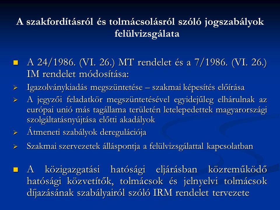 A szakfordításról és tolmácsolásról szóló jogszabályok felülvizsgálata