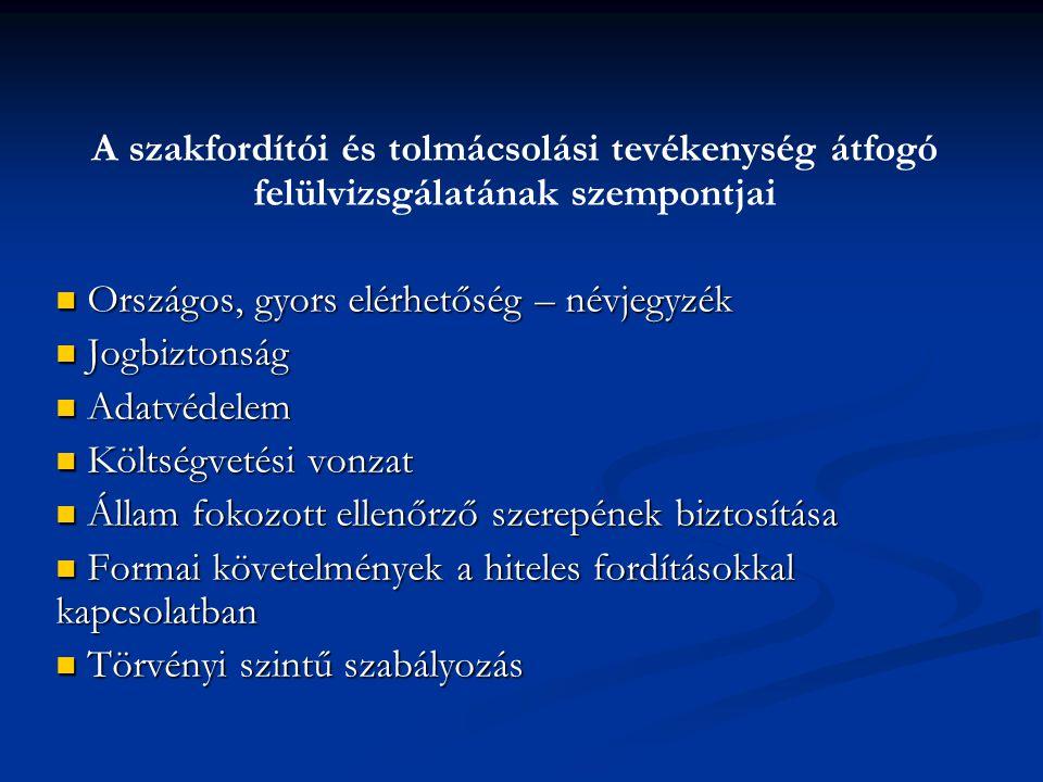 A szakfordítói és tolmácsolási tevékenység átfogó felülvizsgálatának szempontjai