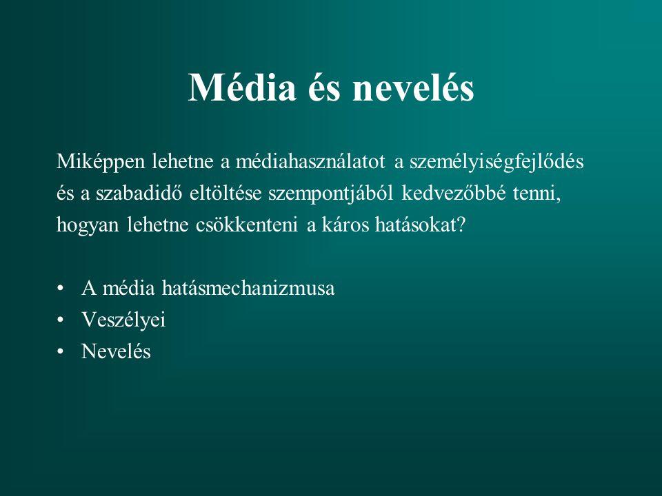 Média és nevelés Miképpen lehetne a médiahasználatot a személyiségfejlődés. és a szabadidő eltöltése szempontjából kedvezőbbé tenni,