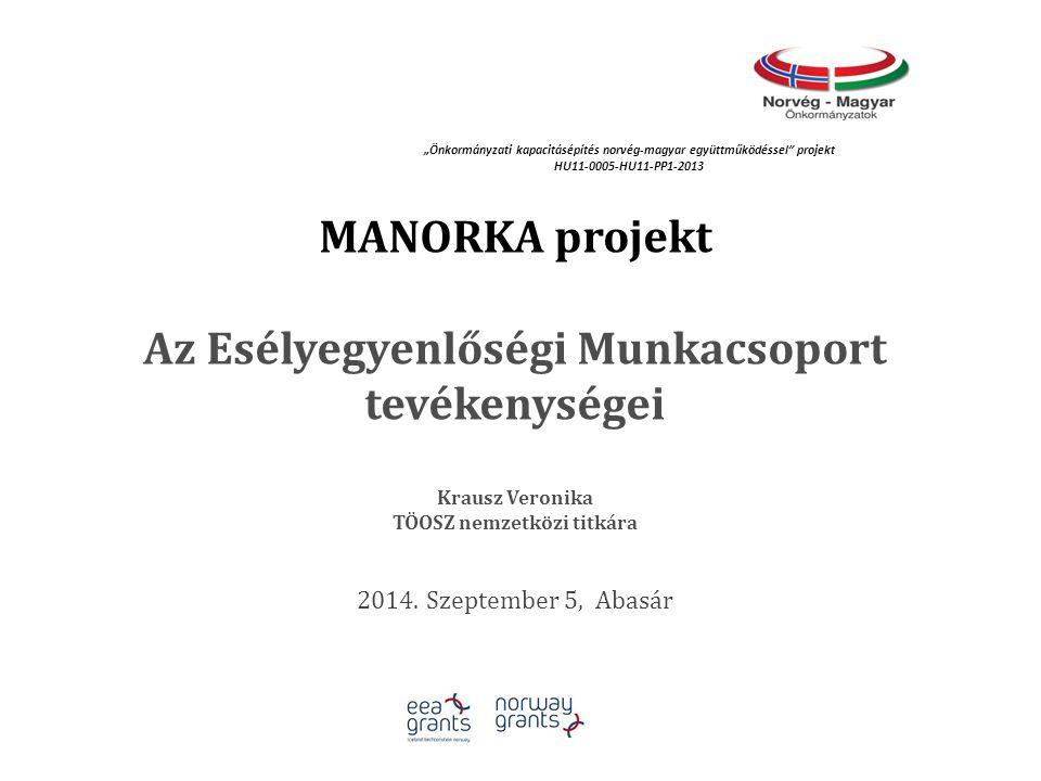 MANORKA projekt Az Esélyegyenlőségi Munkacsoport tevékenységei