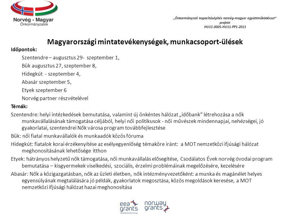 Magyarországi mintatevékenységek, munkacsoport-ülések